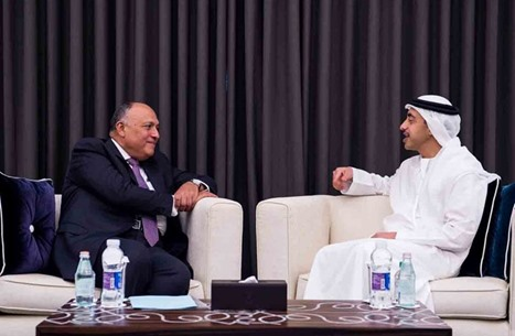 عبدالله بن زايد يبحث مع وزير خارجية مصر