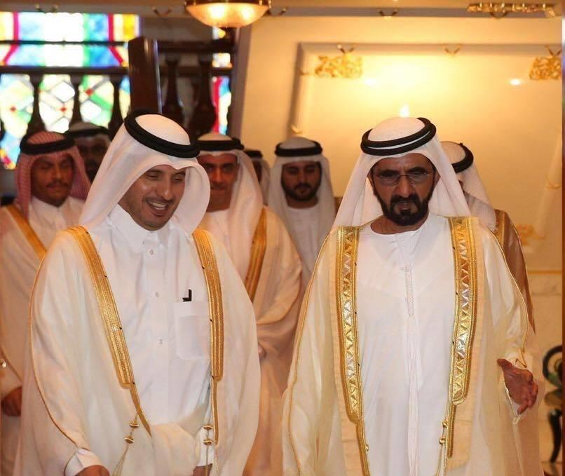 محمد بن راشد يستقبل رئيس وزراء قطر ويبحث معه العلاقات الثنائية
