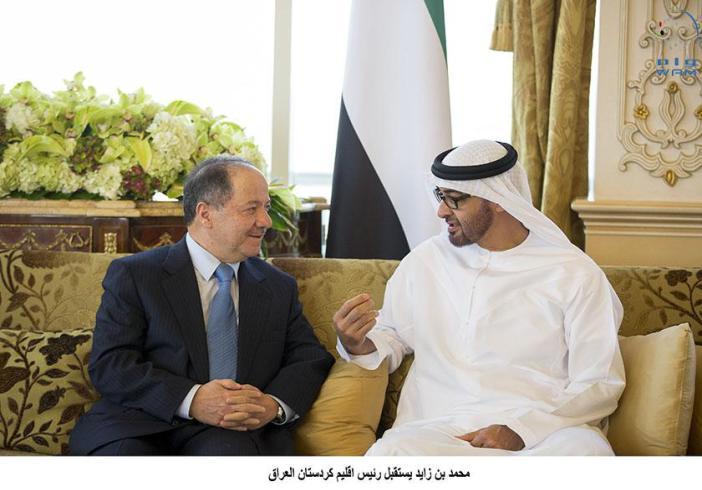 محمد بن زايد يستقبل رئيس إقليم كردستان ويبحث معه تطورات منطقة