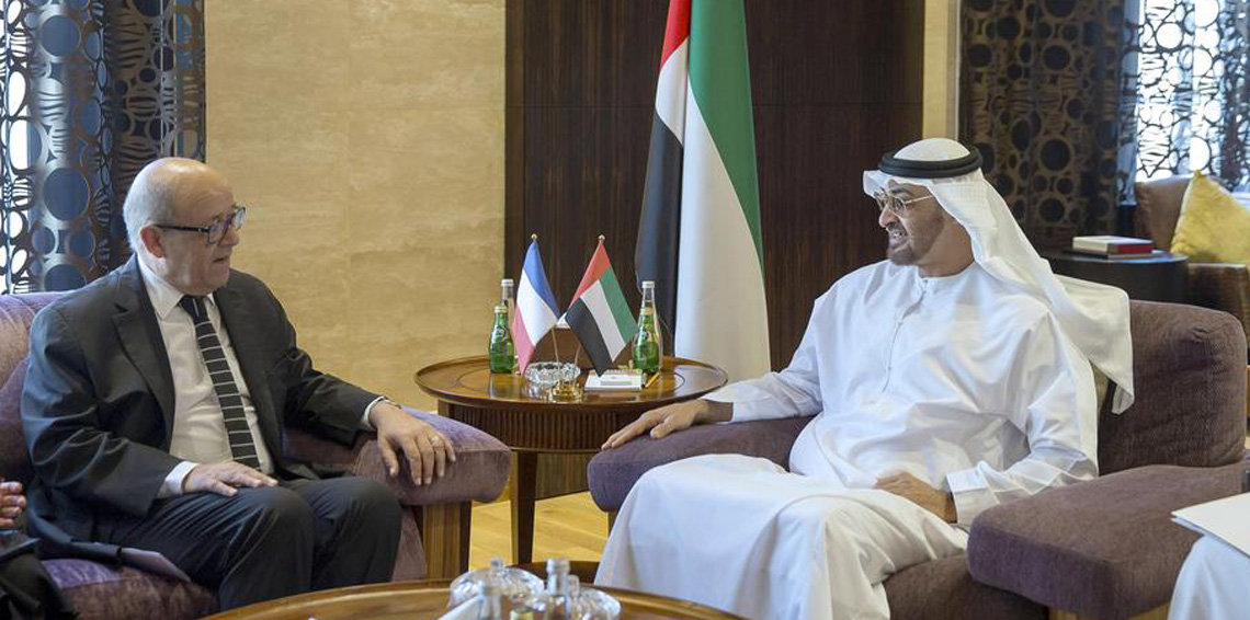 محمد بن زايد يبحث مع وزير خارجية فرنسا القضايا الإقليمية