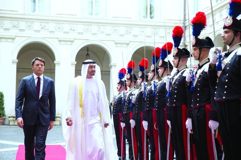 محمد بن زايد في روما لبحث ملفات اقتصادية مع رئيس وزراء إيطاليا