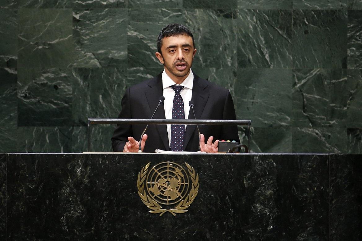 عبدالله بن زايد يهاجم أمام الأمم المتحدة إيران ويطالب بإعادة الجزر الإماراتية