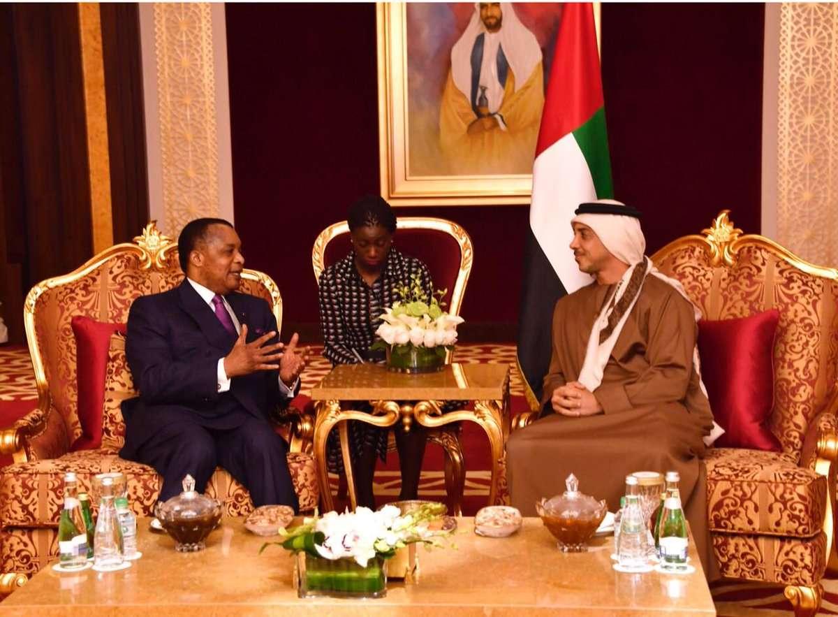 منصور بن زايد يبحث مع رئيس جمهورية الكونغو تعزيز العلاقات بين البلدين