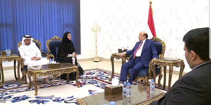 هادي يلتقي وزيرة التعاون الدولي الإماراتية ويدعو الأمم المتحدة لتوسيع نشاطاتها في 3 مدن باليمن