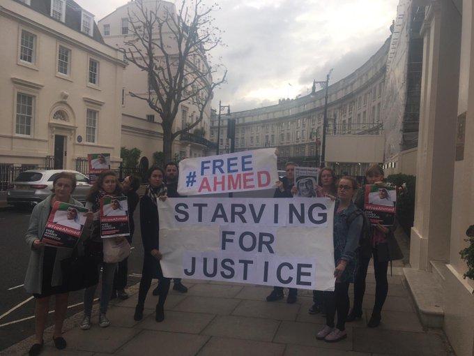 تظاهرة في لندن تتضامن مع أحمد منصور وتطالب الإمارات بالإفراج الفوري عنه