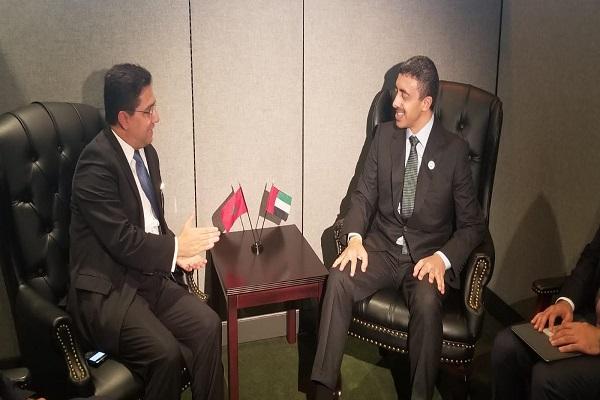 عبدالله بن زايد يبحث مع وزير الخارجية المغربي التطورات في المنطقة