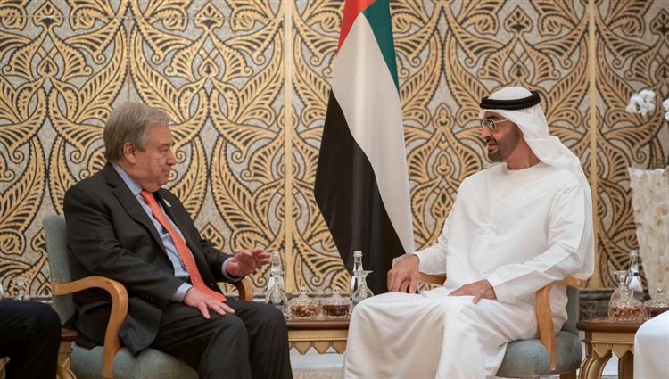 محمد بن زايد يستقبل الأمين العام للأمم المتحدة ويبحث معه التعاون المشترك